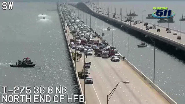 Crash, search close northbound lanes on Howard Frankland Bridge