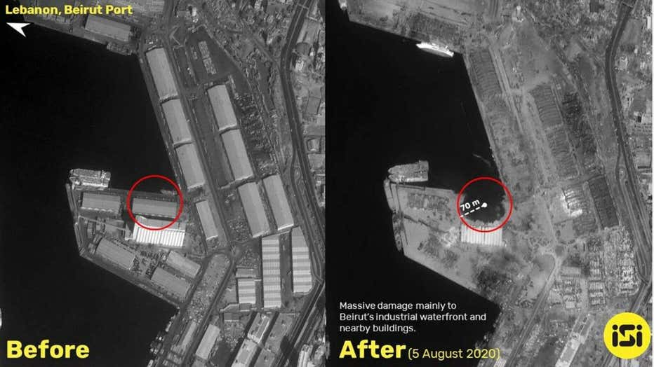 Side-by-side satellite images of the Beirut blast before and after - ISI Imagesat International