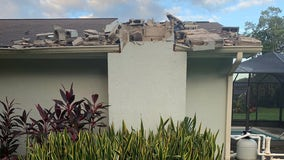 Lightning blasts chimney from Pasco County home