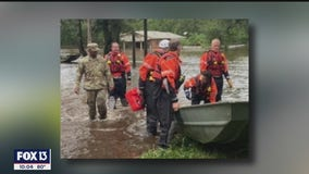 Crew from Tampa Bay helps rescue man, dog from flooded Escambia County home