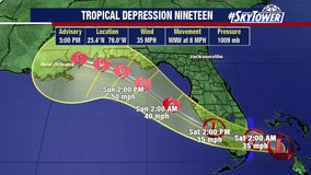 Wet weekend ahead as tropical depression forms off Florida