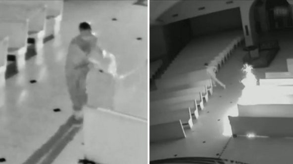 Deputies search for arsonist who broke into church and set pews on fire
