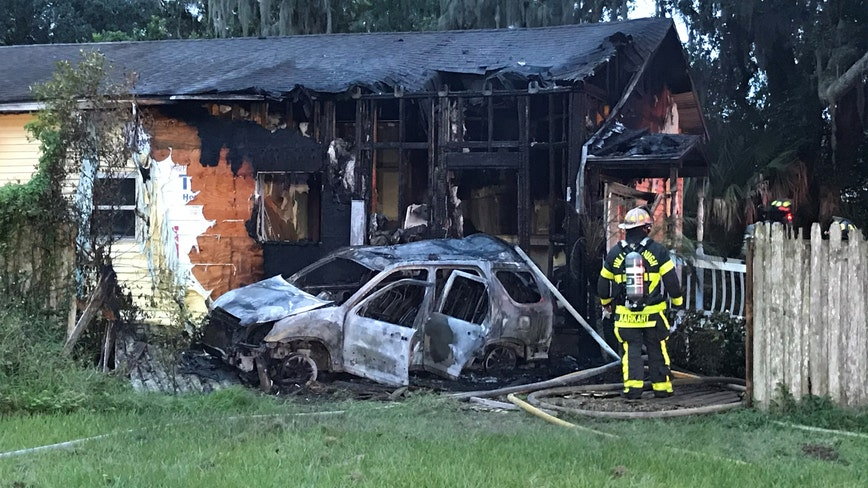 FHP: Driver flees scene after crashing into law firm, setting it on fire