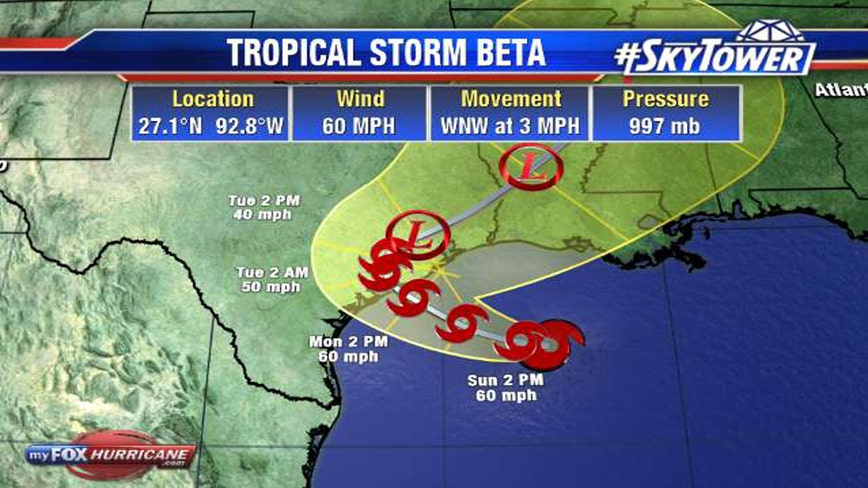TS Beta churns slowly toward Texas, Louisiana