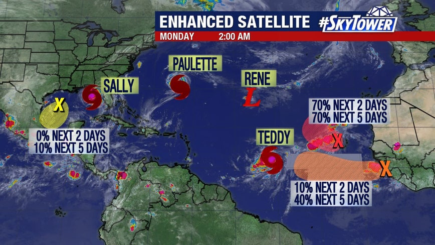 Tropical Storm Teddy forms; Sally set to become hurricaneHurricane Sally 2014