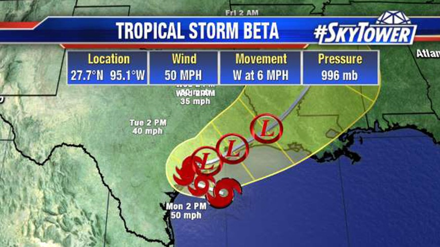 Tropical Storm Beta slowly moving toward Texas coast; no impact to Tampa Bay