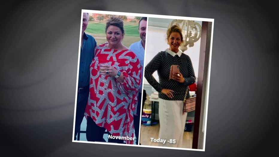 Before and after photos of Lisa Asbell.