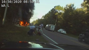 FHP: 2 Good Samaritans pulled injured driver from fiery tractor-trailer crash