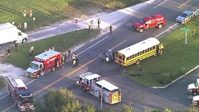 Vehicle crashes into Pasco County school bus; no students injured