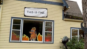 Homeowner recreates 'This is fine' meme for Halloween decoration that's 'perfect' for 2020