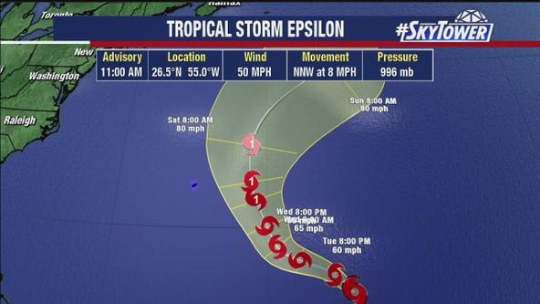 Tropical Storm Epsilon slightly stronger in central Atlantic