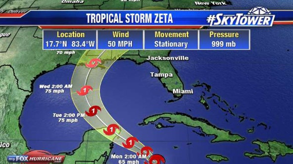 Tropical Storm Zeta forecast to intensify into hurricane in Gulf of Mexico