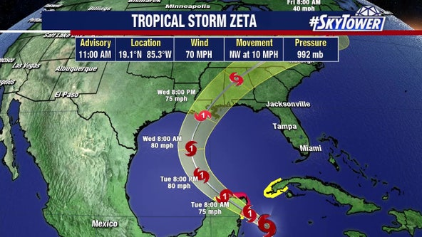 Zeta becomes hurricane; Gulf Coast landfall expected