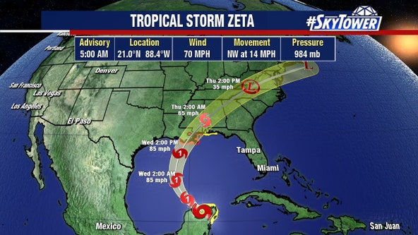 Tropical Storm Zeta expected to intensify as it heads into Gulf