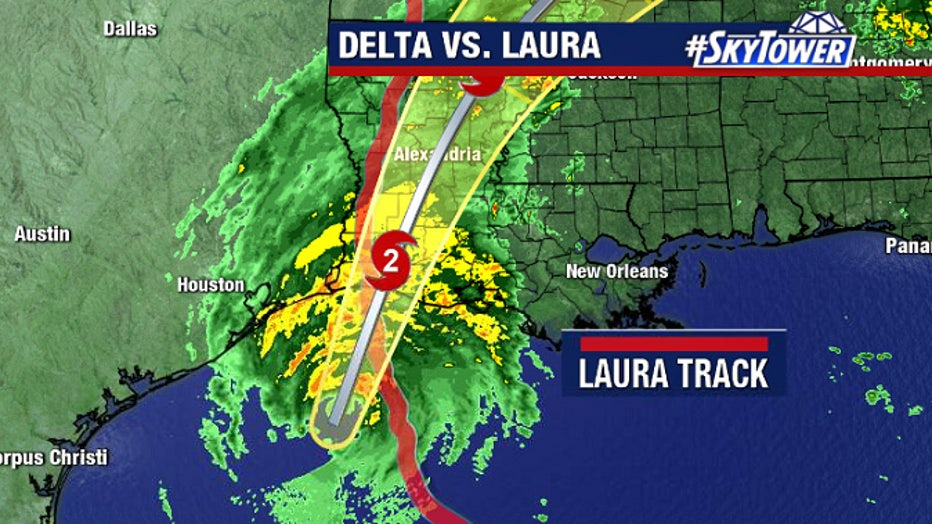 Hurricane Delta vs Laura map
