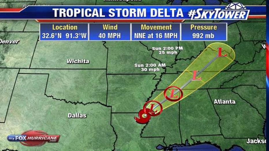 Tropical Storm Delta path