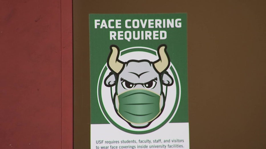USF sign with mascot wearing a mask