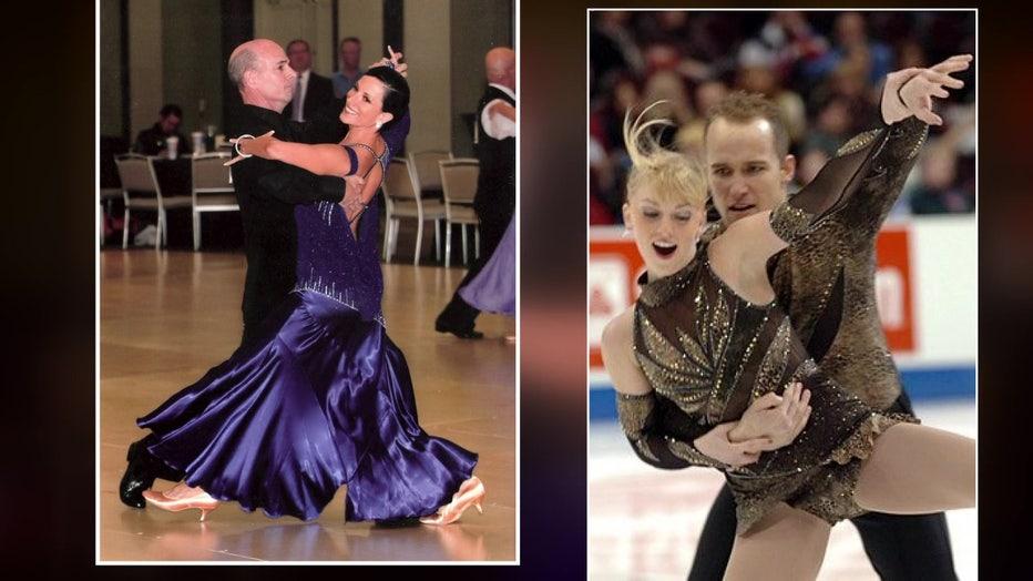 ballroom dancer and figure skater wearing Zhanna Kens dresses