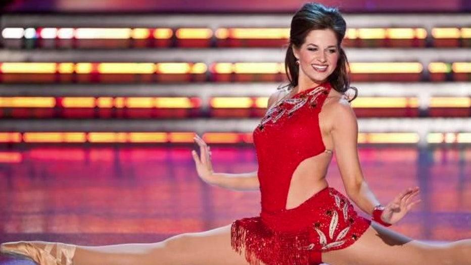 Miss America contestant wearing Zhanna Kens dress