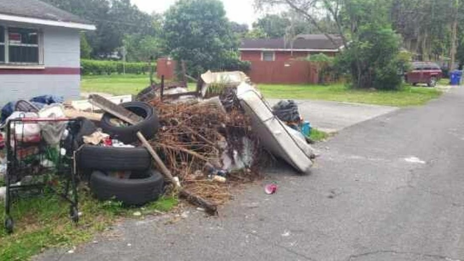 Pile of trash dumped illegally