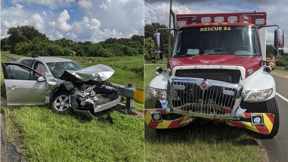 DIstracted driver crashes into EMS vehicle in north port