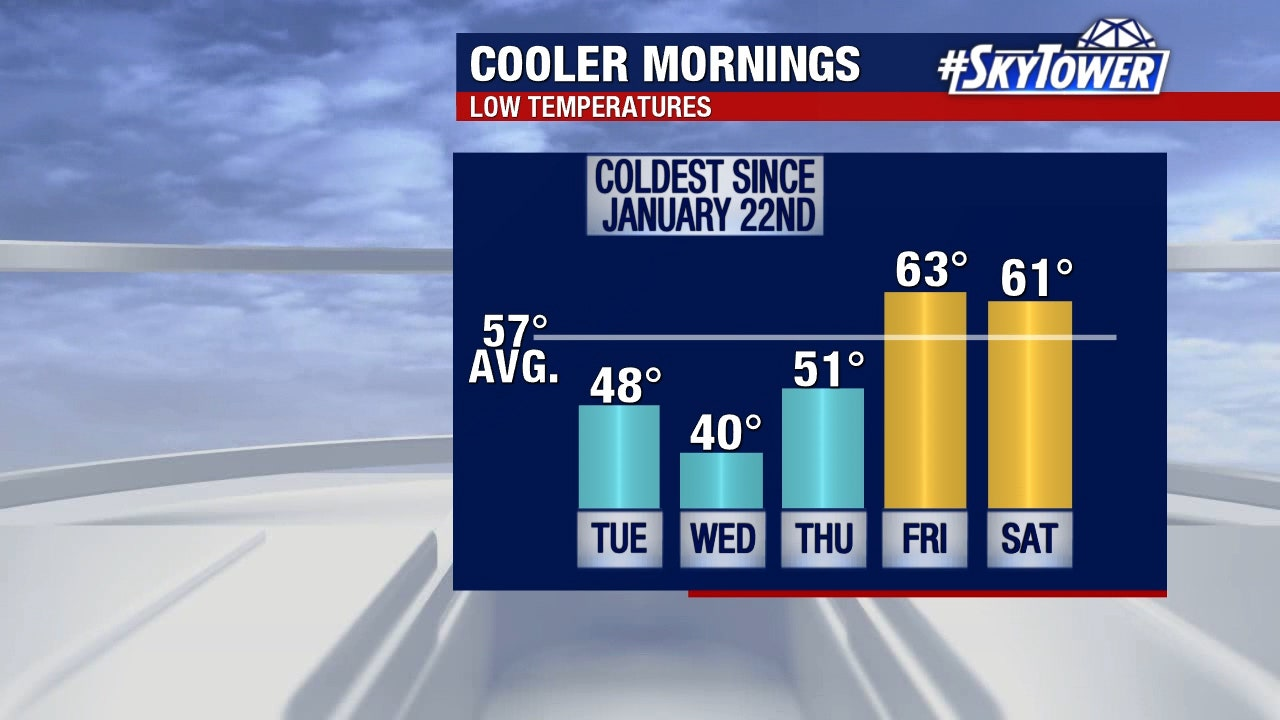 Coldest morning temperatures since January will arrive in Tampa Bay this week