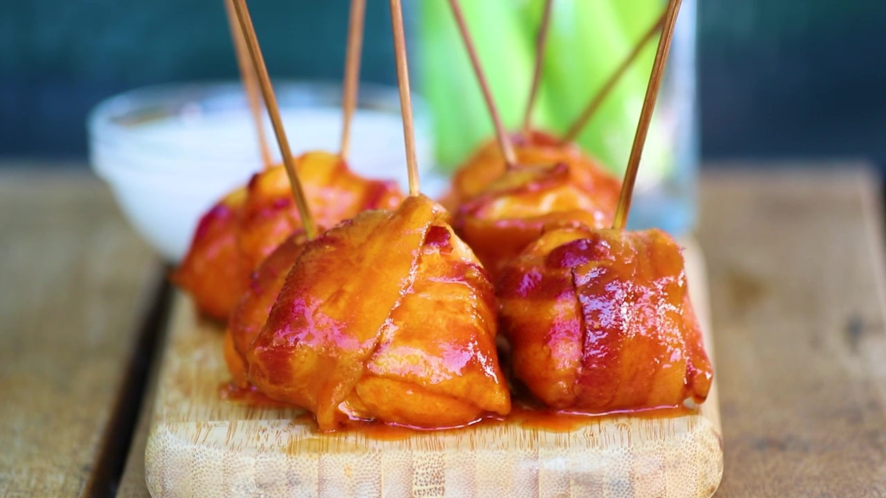 Recipe: Bacon-wrapped hot chicken bites