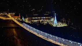 Beautiful! The SkyBridge in Gatlinburg lights up for the holiday season