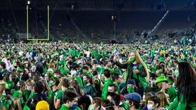 Notre Dame mandates virus testing after football celebration