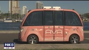 Autonomous mini-bus giving free rides along downtown St. Pete waterfront