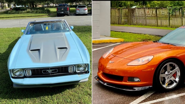 1973 Mustang convertible and 2007 Chevrolet Corvette