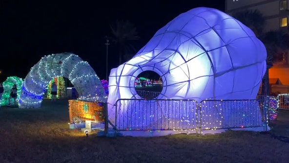 Florida non-profit turns trash into festive display to raise awareness of single-use plastic