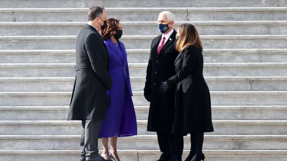 Vice President Kamala Harris bids farewell to predecessor Mike Pence in 'honorary departure'