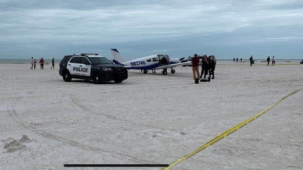Pilot makes emergency beach landing on Treasure Island