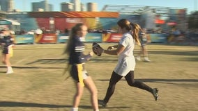 Playing like a girl takes on new meaning during flag football matchup ahead of Super Bowl