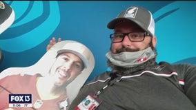 Bucs fan launches social media search for Chiefs fan on cardboard cutout at Super Bowl