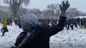 Epic snowball fight breaks out on National Mall after DC's first big snowfall in years