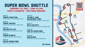 Super Bowl shuttle offering free rides around Tampa