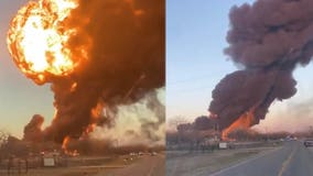 Train carrying fuel explodes after colliding with 18-wheeler in Texas