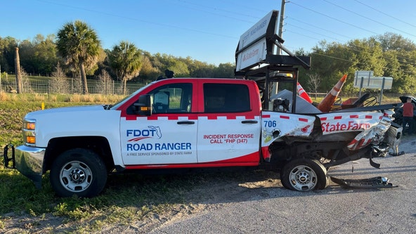 Driver cited after crash involving road ranger cleaning debris on I-4
