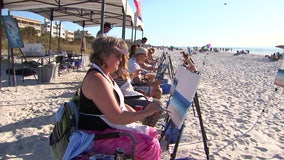 Beach art class helps participants relax by painting picture-perfect sunsets