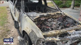 Neighbor alerts owner when 23-year-old truck seems to spontaneously catch fire