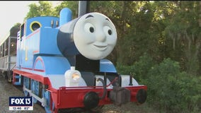 Thomas the Tank Engine and Sir Topham Hatt pull into the Florida Railroad Museum