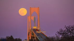 Pink Moon: Timelapse video captures 1st supermoon of 2021 rising over Rhode Island bridge