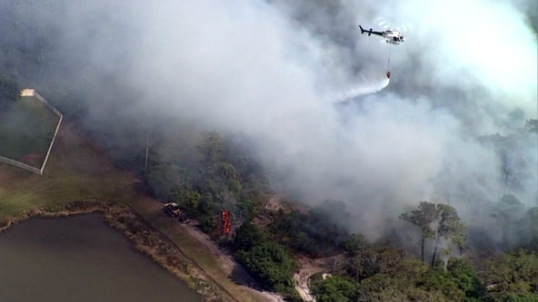 Crews beat back brush fire threatening Holiday neighborhood