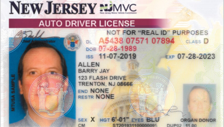 Sample NJ Driver License with Gender 'X'