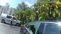 Sarasota officer rescues dog left in hot car by breaking vehicle window