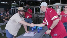 Bucs fan grabs beer with 'Frank,' the Chiefs fan whose cardboard cutout he sat next to at Super Bowl