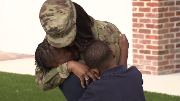 Military mom surprises son, brother after 6-month deployment