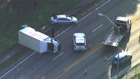 Crash involving FedEx truck closes portion of Busch Boulevard in Tampa